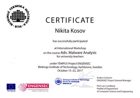 Международный тренинг в области Malwareanalysis